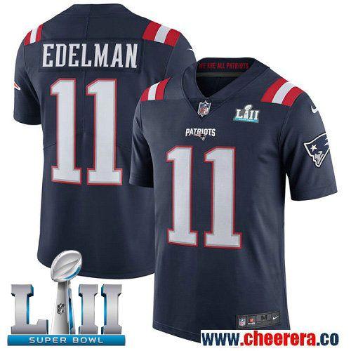 Nike Patriots 11 Julian Edelman Navy 2018 Super Bowl LII Color Rush Limited  Jersey 7340f6dd3