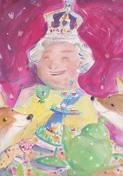 Queen Elisabeth with her corgies  by Ania Simeone