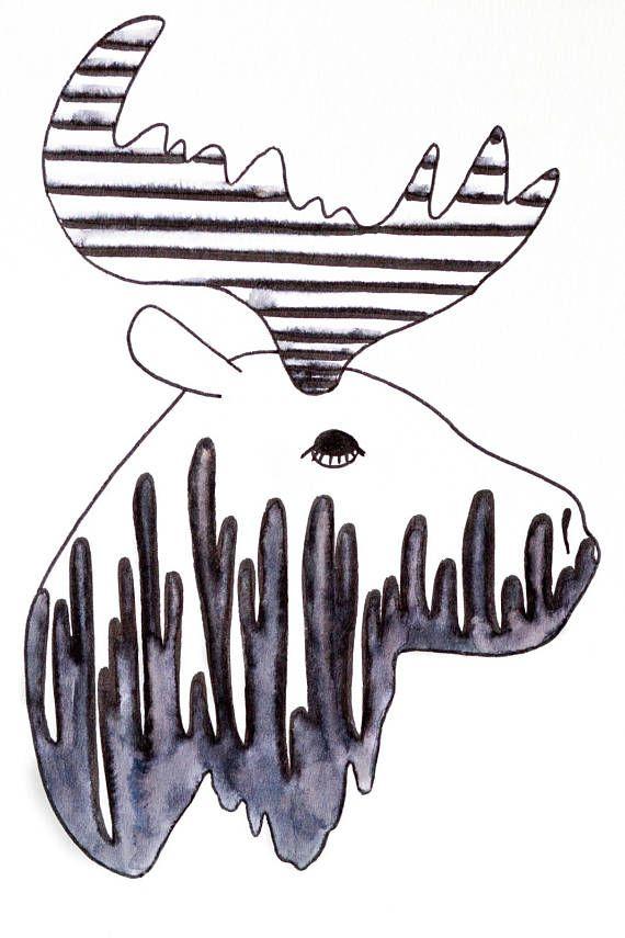 Orignal illustration noir et blanc neutre décoration