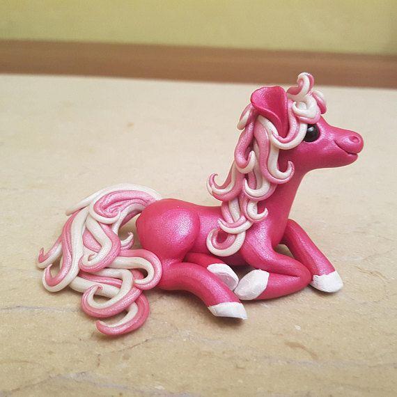 pink pony figurine handmade horse sculpture polymer clay