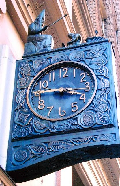 The bronze surround of this mechanized timemarker at 470 Park Avenue South displays silkworms and mulberry leaves, the choice repast of those invertebrates--references to the building's original owner, a silk-looming concern. On the strike of each hour, Merlin raises his wand to lightly rap the blacksmith who is pounding away on King Arthur's sword, and the Lady of the Lake arises from the case. Known as the Silk Clock, the work was manufactured in 1926 by Seth Thomas.