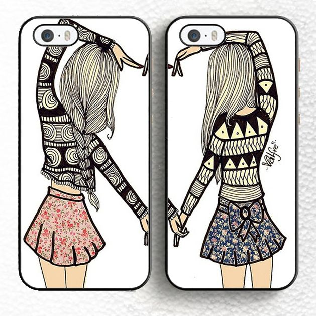 2pcs/lot Besties BFF Best Friends Girly Heart Matching Soft TPU Phone Cases For iPhone 6 6S Plus 7 7 Plus 5 5S 5C SE 4 4S Cover