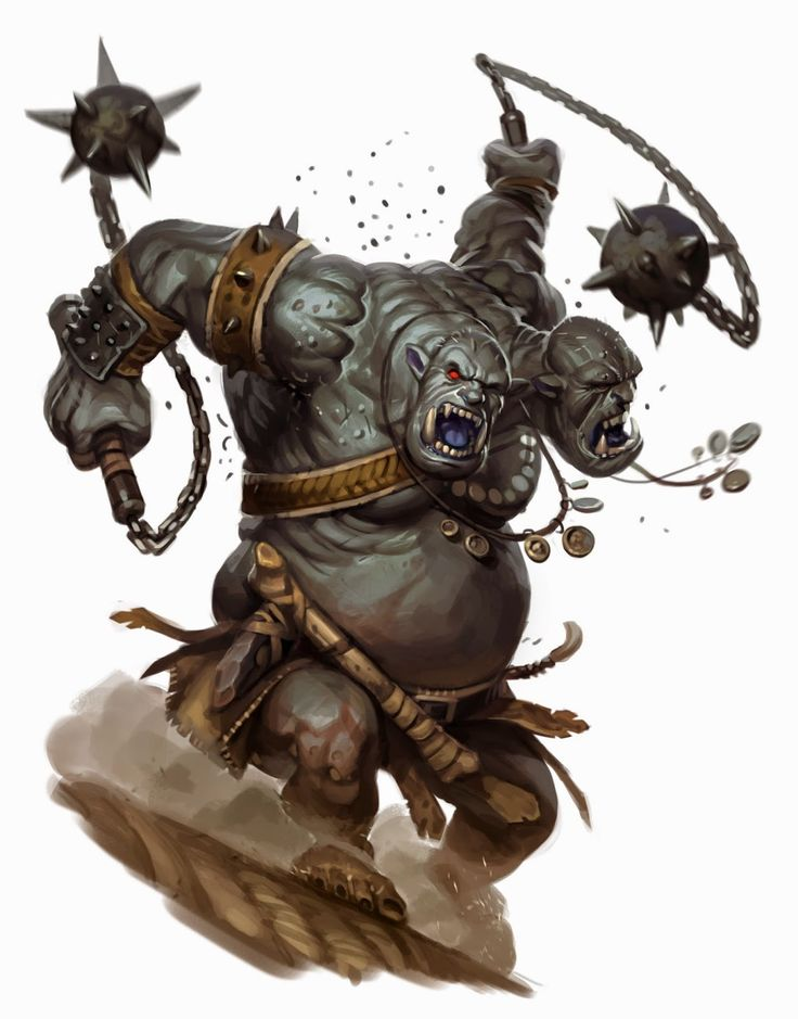 One of the most feared natives of the frontier, the ettin is a beast that combines the worst of orc, ogre, and giant. Add on a second head and you have a native beat of the frontier few seek to deal with.