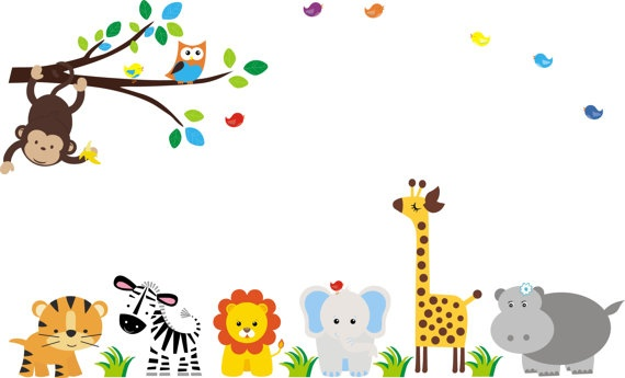 Jungle Wall Decal with Giraffe Elephant Zebra by StickEmUpWallArt, $195.00