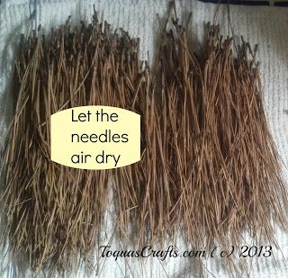 Preparing pine needles for crafts:  pick out debris (leaves, etc); boil water in large soup pot; place pine needles in kitchen sink; pour boiling water  over pine needles in sink; let soak 30 minutes.  Drain.  Lay pine needles on old towel to air dry 24 to 48 hours, turning them occasionally to bottom ones can dry and not mildew.