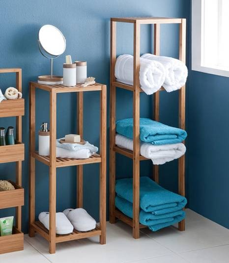 Bathroom style... love the wall colour and the racks would solve our storage problems!