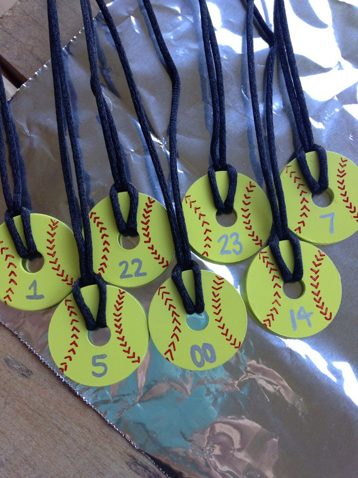 Softball Washer Necklaces made for the girls on our team. See my very first comment to see how to make these  what to buy! Enjoy!!! :-)
