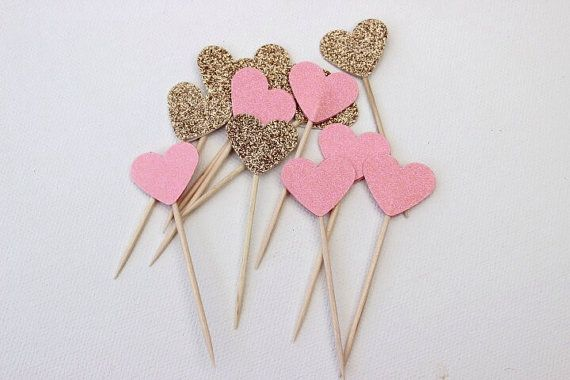 Cupcake Toppers. Peach and Gold Glitter Hearts. Pack of Twelve. Wedding - Engagement - Formal Function