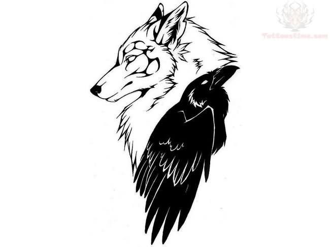celtic wolf design | Wolf Head And Celtic Crow Tattoo Design