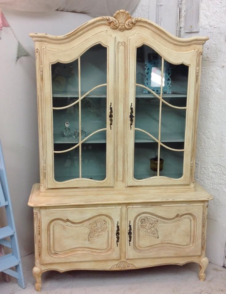 French Dresser hand painted By Joe in Everlong's ''French Cream'' Liquid Brown Wax for an aged Attire. Stunning Piece and now in a Bridal Shop in Helston, Cornwall.