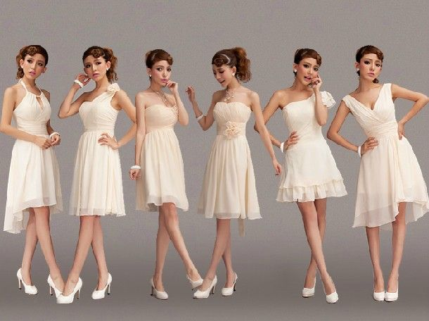 Real Bridesmaids In Beige Bridesmaid Dresses
