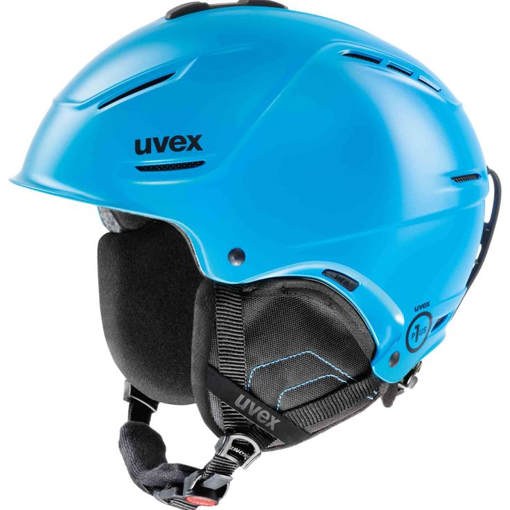 Uvex, P1us ski helmet, cyan mat Lightweight ski helmet, made in Germany Light weight ski helmet in a sparkling colour. The ski helmet has all features you will need, like a natrual sound system earpadding. UVEX has developed a special membrande for accurate representation of ambient sounds.   The ski helmet meets all safety standards for alpine skiers and snowboarders, like the EN 1077B / ASTM F2040.