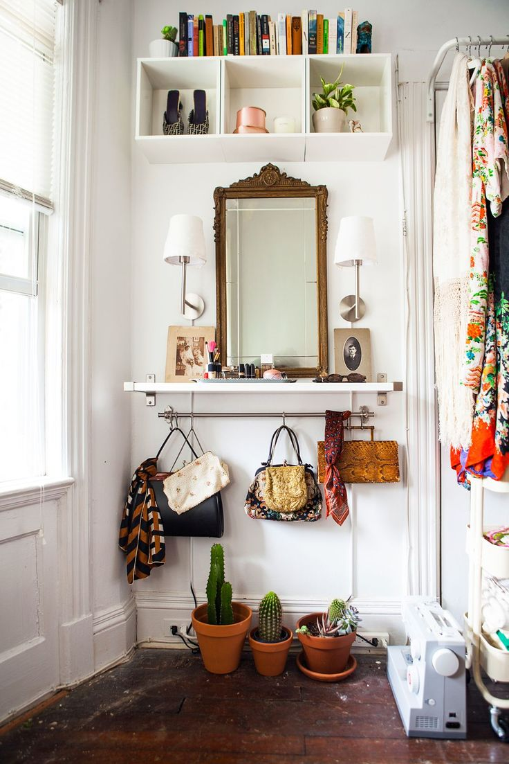 How To Cheat Your Way To A Killer Closet #refinery29 http://www.refinery29.com/closet-makeover-ideas#slide-17 After: The team kept my antique mirror and created a vanity around it with a free-floating shelf and sconce lighting. I was even able to bring some of my books out of the living room to store above.