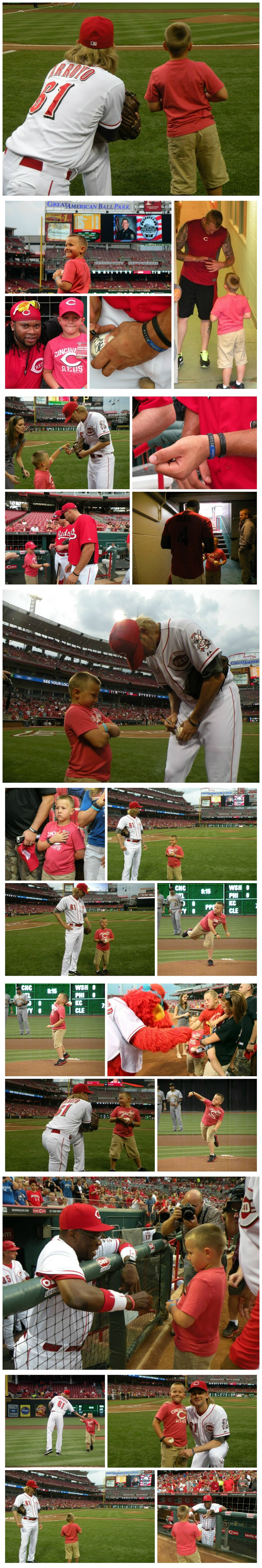 Parker Ellis, the son of Bardstown, KY Police Officer Jason Ellis, meets Reds players during batting practice and throws out a first pitch.   Officer Ellis paid the ultimate sacrifice when he was killed in the line of duty on May 25th. Officer Ellis was a graduate of Glen Este High School & played for one season in the Reds minor league system with the Billings Mustangs. #reds