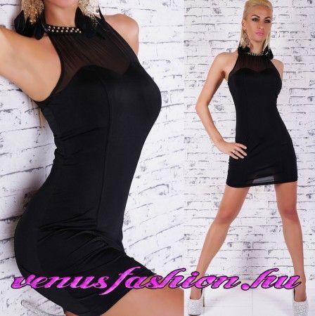 Divatos fekete ujjatlan dekoratív alkalmi mini ruha