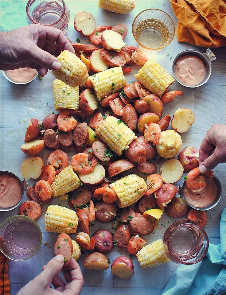 """Shrimp Boil for Four. """"I don't know what phase the moon is in that these shrimp boils keep popping up today, but that's the kind of astronomy I dig. With mah belleh. Nom nom nom..."""" -Cas"""