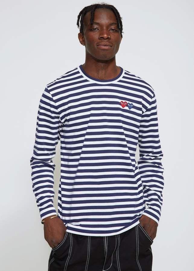 de9b809be6f7d Comme des Garcons PLAY Long Sleeve Double Heart T-shirt