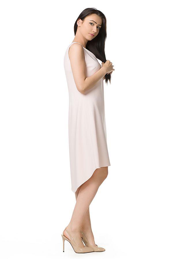 Asymetryczna sukienka na lato w kolorze pudrowego różu. Asymetric, summer, powder pink dress.