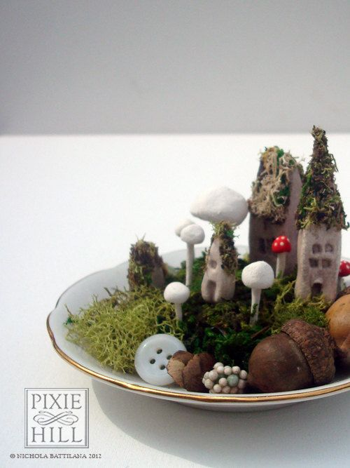 Itty bitty fairy town on a tiny saucer by PixieHillStudio