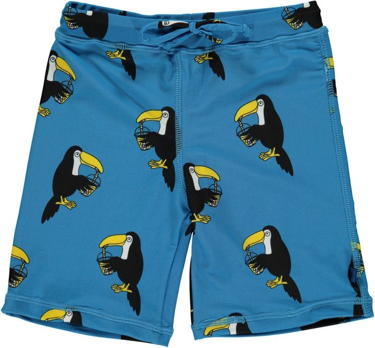 Blue Swim Trunks with Toucans from Smafolk. Available at Modern Rascals.