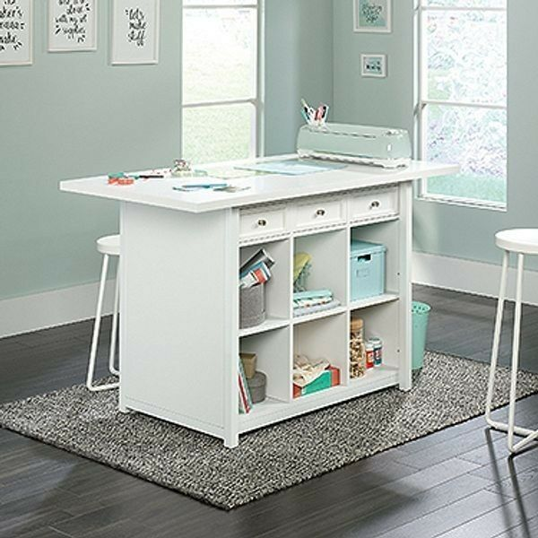 Adult Craft Table White Stain Resistant Work Table W Storage She