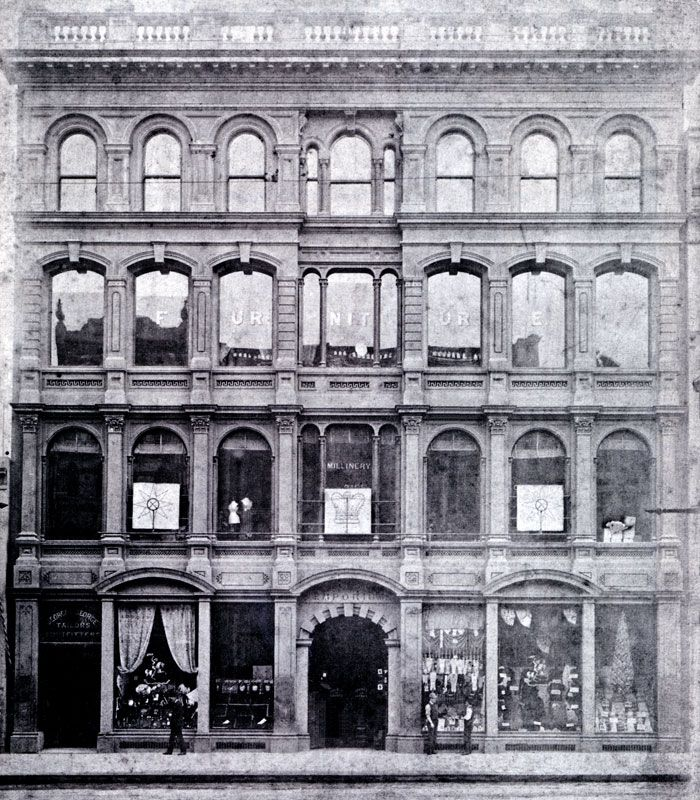 The first Georges store in Melbourne known back then as George and George was on the north side of Collins Street between Swanston and Elizabeth Streets. It was lost due to fire on Friday the 13th of September 1889.