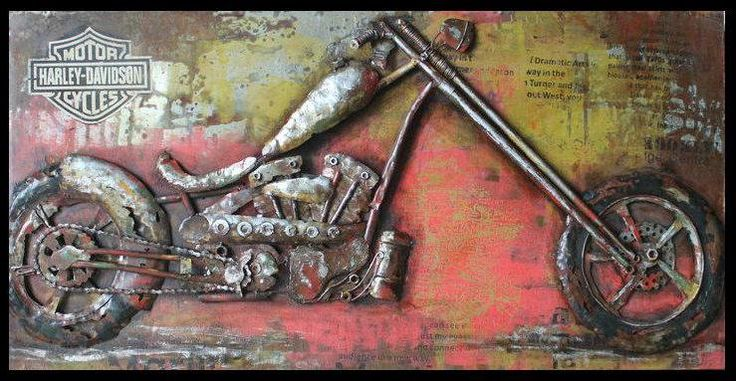 3d steel wall art - painting on metal harley davidson from earth