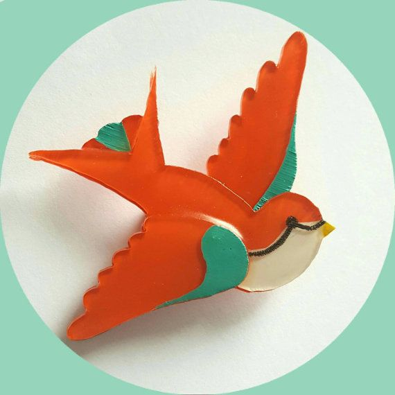 Swallow Bird Brooch (orange & turquoise) Vintage Inspired, Novelty brooch…