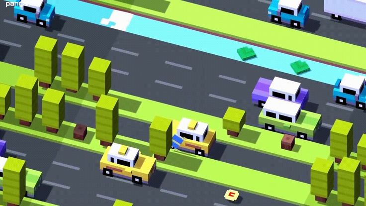 Retro-styled, pop art inspired characters cross the road