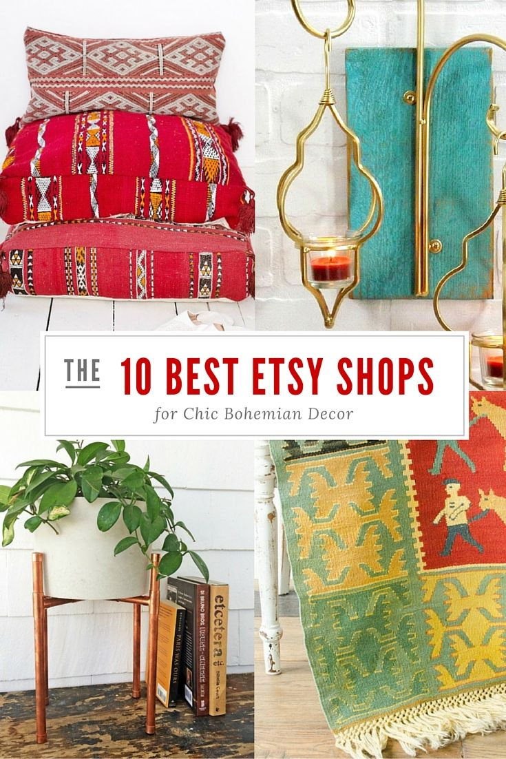 Get your hippie on! Here are the 10 best bohemian decor Etsy shops for you to find unique wall tapestries, moroccan decor, rugs and bohemian floor cushions and pillows!