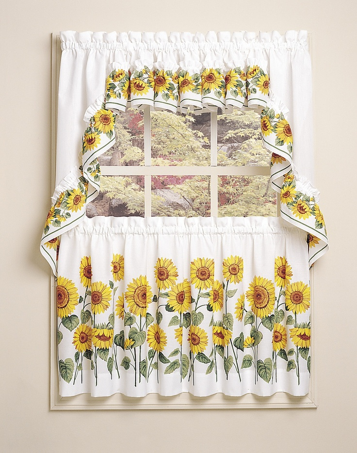 Sunflower design kitchen curtain