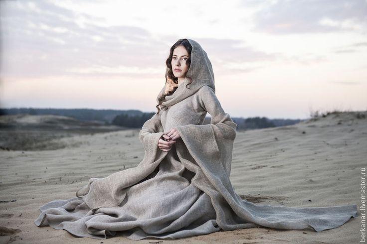 """Купить Средневековое платье в стиле фентези """"Странница"""" - серый, странница, пилигримм, татуин, принцесса, нищенка"""