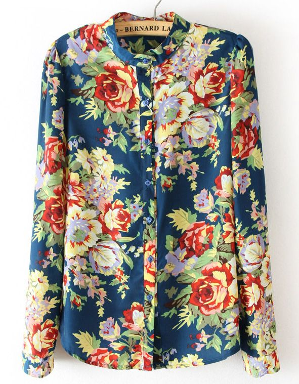Blue Long Sleeve Floral Chiffon Blouse