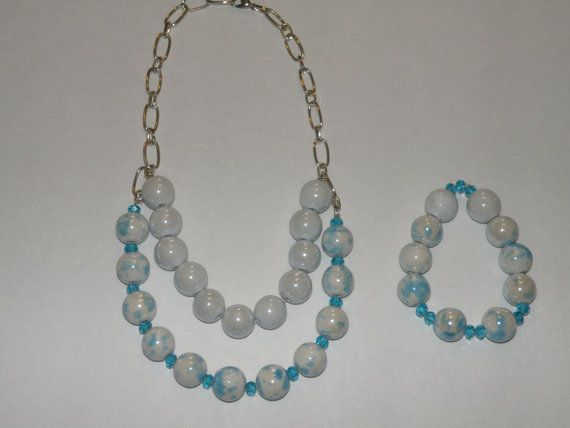 Ceramic beaded 2 strand blue and white necklace by Varietyofitems