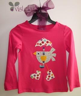 VISTELAS. Camiseta pollito con paraguas