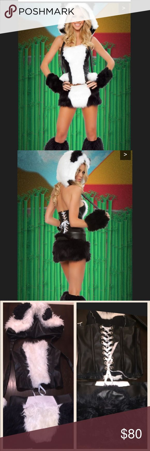 🎃Halloween costume🎃 Panda costume. Includes fur hat, corset top. Matching skirt with panda tail and both arm and leg warmers. Super cute purchased off Yandy I think. Good condition Other
