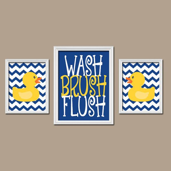 Rubber Duckie Bathroom Navy Yellow Duck Wall Art by TRMdesign