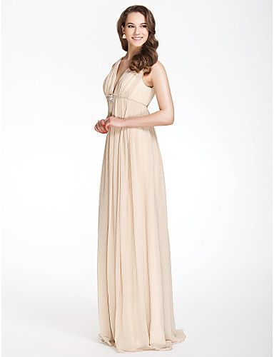 A-line V-neck Floor-length Chiffon Over Elastic Satin Bridesmaid/ Wedding Party Dress - AUD $ 108.80