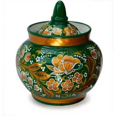 Khokhloma Porcelain Sugar Bowl FromRussia.com