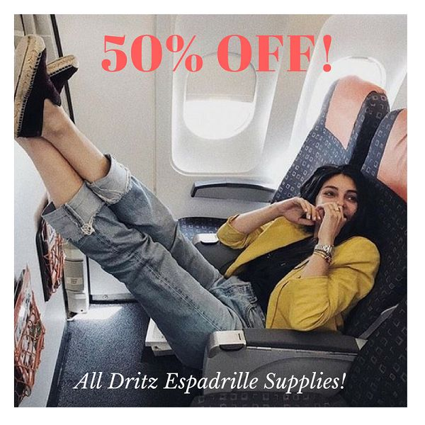 Espadrille supplies from @dritzsewing are 50% OFF! Shop our sale quickly! #onclearance #b2b #wholesale #dritzespadrilles #sewingsupplies #notions #shopthesale #shopthelink #promotion #shoemaking #summersewing