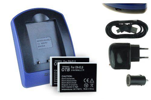 2 Akkus + Ladegerät (Netz+Kfz+USB) EN-EL8 für Nikon Coolpix P1 P2 S1 S2 S7 S8 S9 S50c S51..s. Liste - http://kameras-kaufen.de/mtb-more-energy/2-akkus-ladegeraet-ladegeraet-usb-kfz-netz-fuer-en
