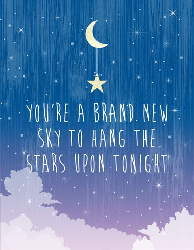 """""""You're a brand new sky to hang the stars upon tonight"""". This is a quote from the Foo Fighters song 'Times Like These'. Colourful and stylish typography print. Available at: www.nurserywallprints.com.au/store/p161/Brand_New_Sky.html"""