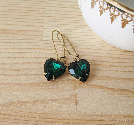 Emerald Green Heart Rhinestone Earrings  Elegant Vintage