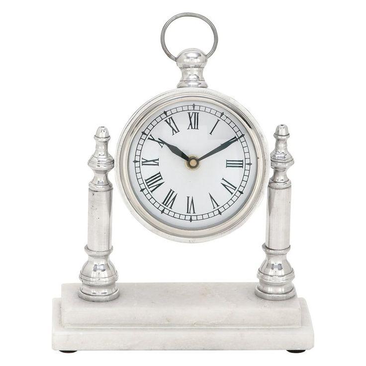 DecMode Aluminum Desktop Clock with Marble Base - 54265