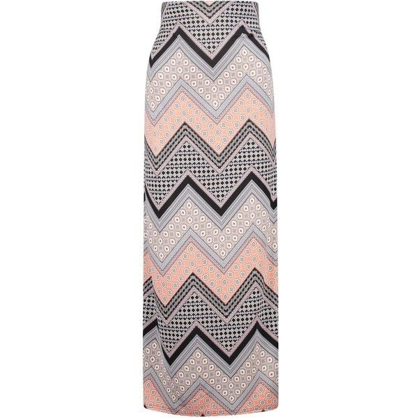 Boohoo Zandi Side Split Aztec Maxi Skirt featuring polyvore women's fashion clothing skirts long midi skirt blue maxi skirt long bodycon skirt pleated maxi skirt long blue skirt
