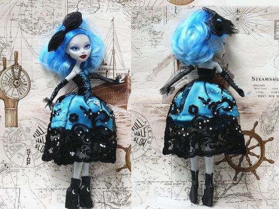 Monster High Clothes hand made Dress, Monster High clothes, Monster High Fashion, blue and black dress, victorian dress on Etsy, $20.00