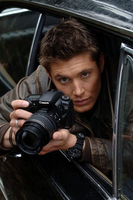Jensen Ackles sticking his head out the Impala with a Canon. Some people are just too perfect.