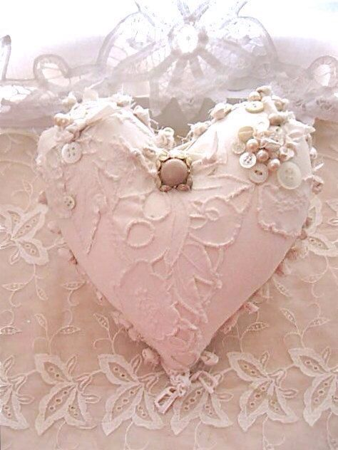 Heart shape pillow & lace shabby chic Lace Design Pinterest