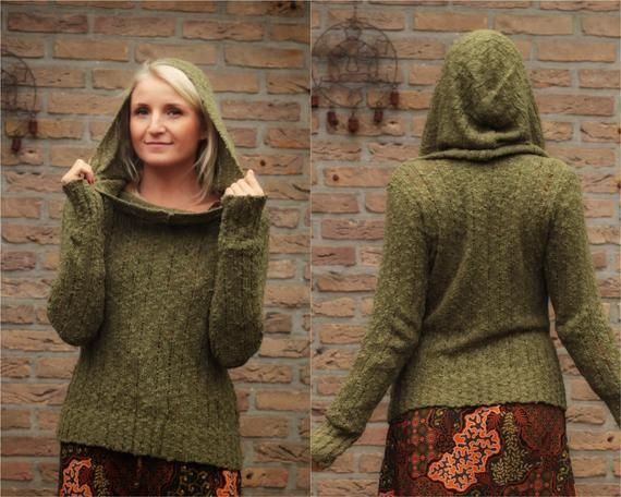 Boho Knit Hoodie Olive boat neck knitted sweater military