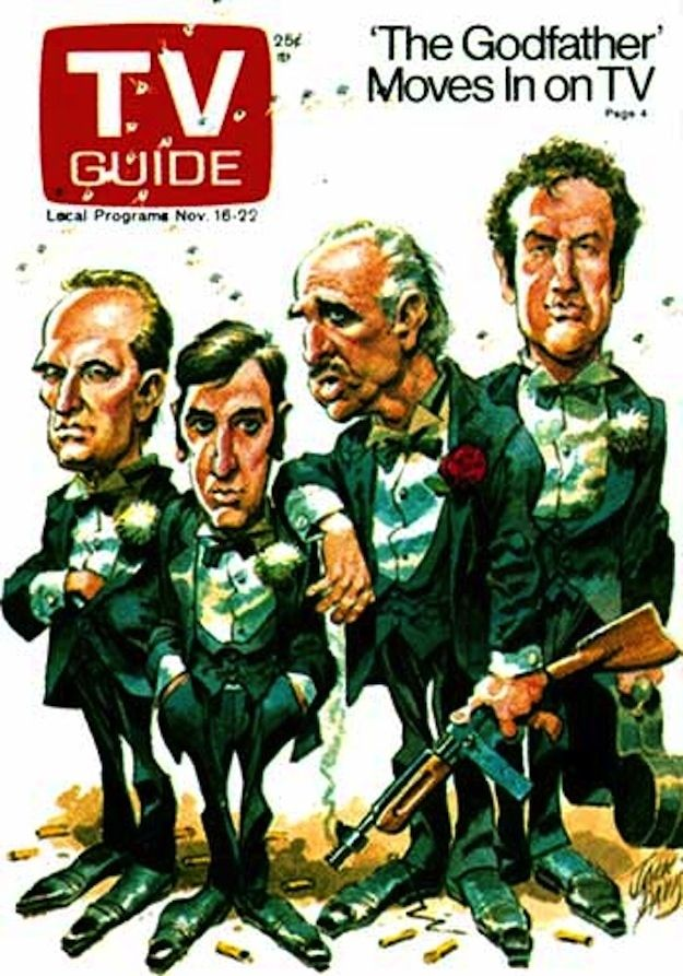 The Godfather - TV Guide. I believe this is from when the movies were shown on TV for the first time, as one long movie in sequence, starting in Italy. I remember seeing it, and there were scenes shown that I had never seen before, and haven't since.